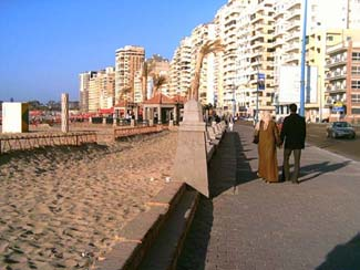The courniche and the beach in Alexandria