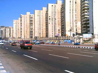 Courniche road in Moustafa Kamel area in Alexandria