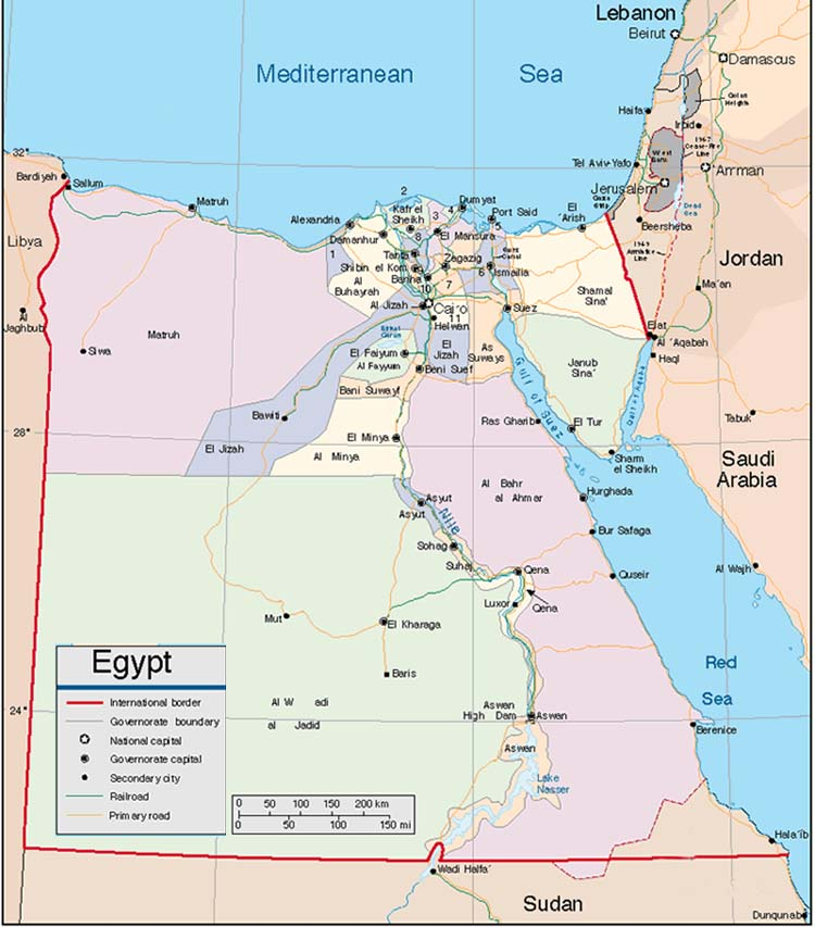 The following map is an administration map of Egypt showing the governorates
