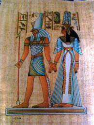 papyrus painting of Horus and Nefertari