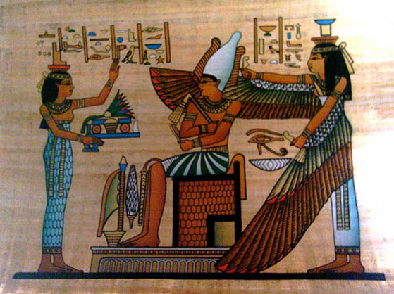 Egyptian papyrus paintings cleopatra painting horus for Egyptian mural paintings