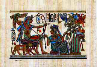 Egyptian papyrus painting of king Tut and his wife